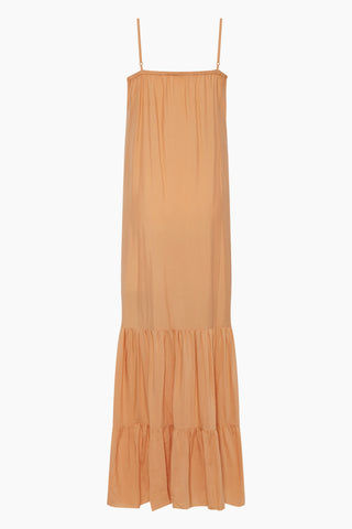CLUBE BOSSA De Niro Drawstring Long Dress - Peach Dress | Peach| Clube Bossa De Niro Drawstring Long Dress - Peach Features:  V neckline  Thin shoulder straps  Drawstring front scrunch tie closure  Ruffle tier detail  Back View
