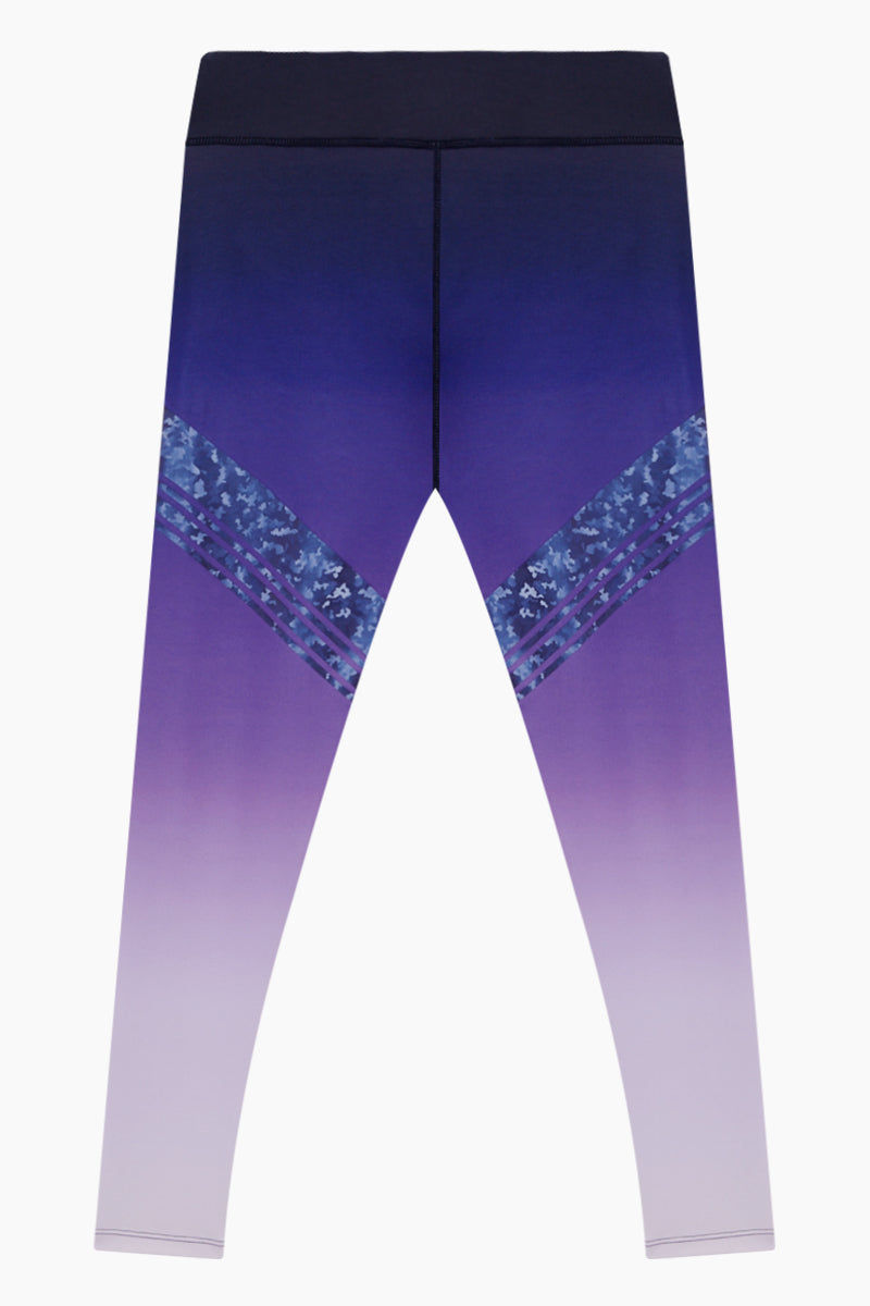 NYLORA Logan Leggings - Violet Ombre Pants | Violet Ombre| Nylora Logan Leggings - Violet Ombre High waist leggings  Ombre from dark to light  Patterned diagonal stripe detail Front View