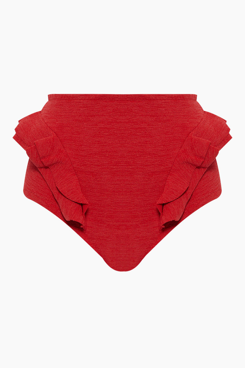 CLUBE BOSSA Hopi Ruffle High Waist Bikini Bottom - Pepper Red Bikini Bottom | Pepper Red| Clube Bossa Hopi Ruffle High Waist Bikini Bottom - Pepper Red. Features:  High waist bikini bottom Elastic waistband Ruffle trimming Cheeky coverage Front View