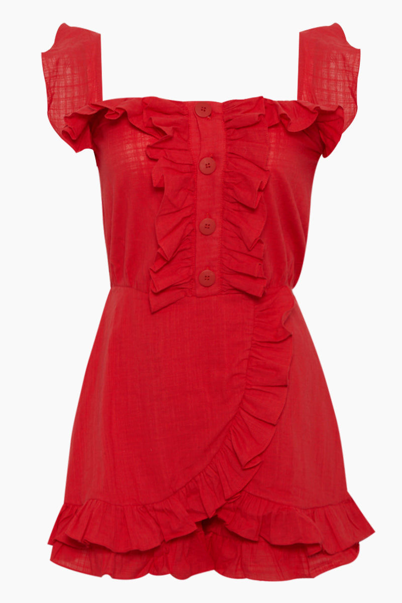 CLUBE BOSSA Follina Ruffle Romper - Pepper Red Romper | Pepper Red| Clube Bossa Follina Ruffle Romper - Pepper Red Ruffle romper Straight neckline  Ruffle sleeves Ruffle front detail  Front button closure  Front View