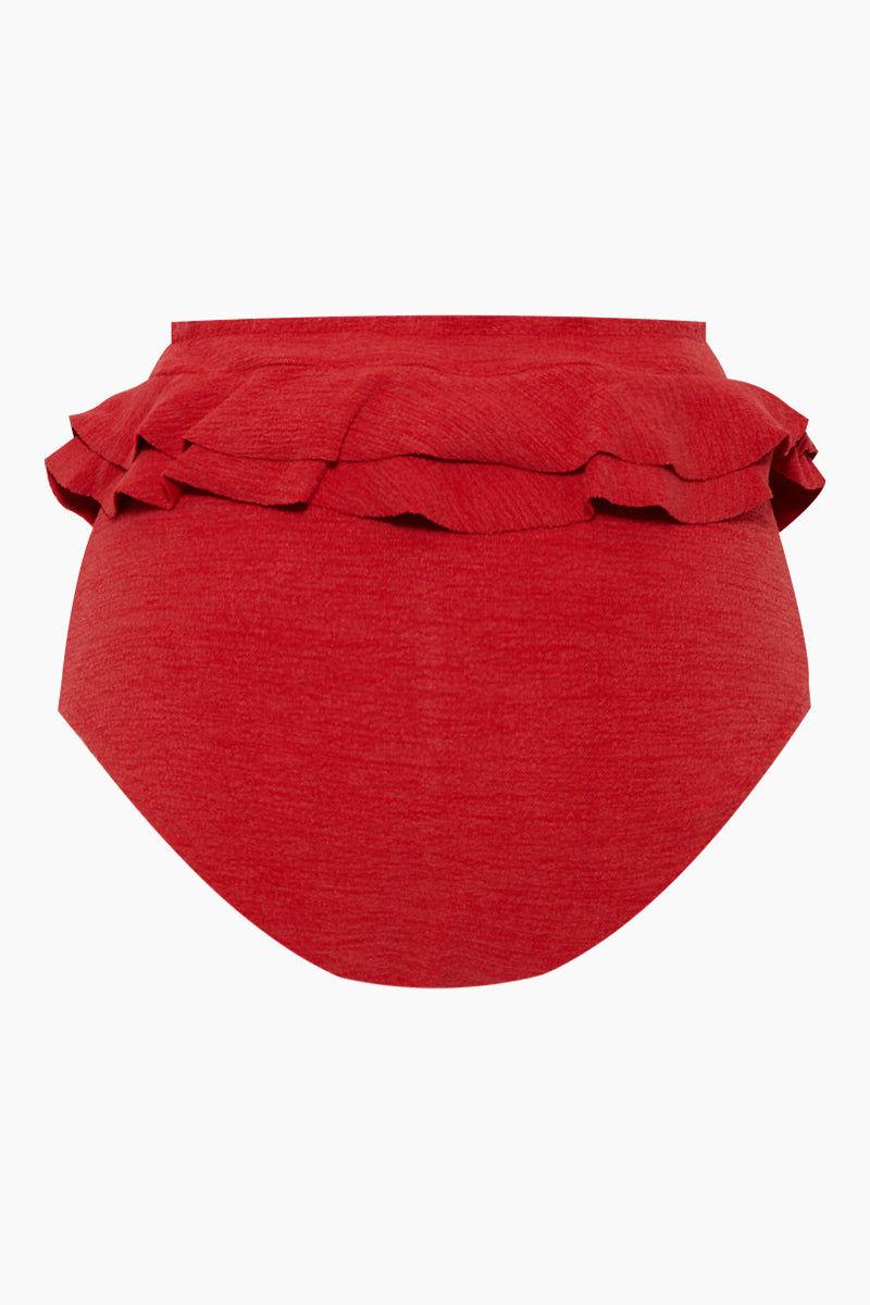 CLUBE BOSSA Hopi Ruffle High Waist Bikini Bottom - Pepper Red Bikini Bottom | Pepper Red| Clube Bossa Hopi Ruffle High Waist Bikini Bottom - Pepper Red. Features:  High waist bikini bottom Elastic waistband Ruffle trimming Cheeky coverage Back View