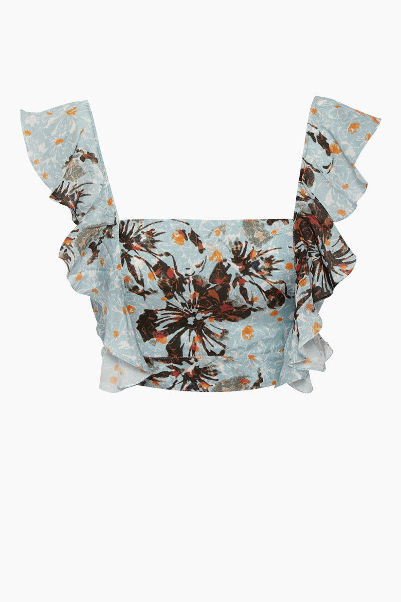 CLUBE BOSSA Lubba Cropped Blouse - Blue Fleur Print Top | Blue Fleur Print| Clube Bossa Lubba Cropped Blouse - Blue Fleur Print Features:  Square neckline Ruffle shoulders Back lace-up fastening 100% Cotton Front View