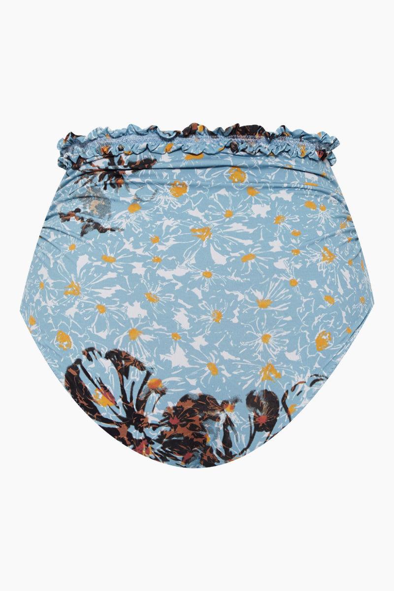 CLUBE BOSSA Bilda High Waist Bikini Bottom - Blue Fleur Print Bikini Bottom | Blue Fleur Print| CLUBE BOSSA Bilda High Waist Bikini Bottom - Blue Fleur Print. Features:  High waist bikini bottom Blue floral print Elastic waistband  Back View