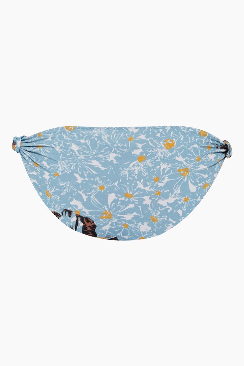 CLUBE BOSSA Rings Low Rise Bikini Bottom - Fleur Blue Print Bikini Bottom | Fleur Blue Print| Clube Bossa Rings Low Rise Bikini Bottom - Fleur Blue Print Features:   Low rise  Sliding tabs Cheeky-moderate coverage Back View