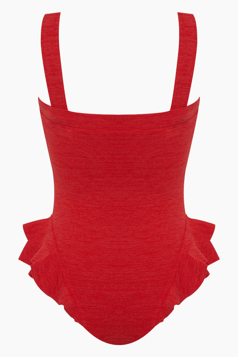 CLUBE BOSSA Barres Ruffle One Piece Swimsuit - Pepper Red One Piece | Pepper Red| Clube Bossa Barres Ruffle One Piece Swimsuit - Pepper Red  Square neckline  Thick shoulder straps Side ruffle detail at leg opening  High cut leg   Cheeky-moderate coverage Back View