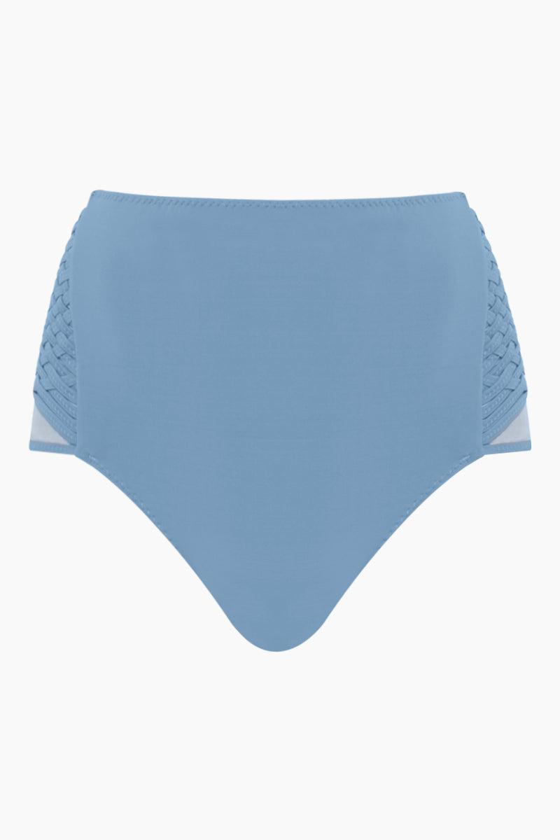 CLUBE BOSSA Havel Weaving High Waist Bikini Bottom - Riviera Blue Bikini Bottom | Riviera Blue| Clube Bossa Havel Weaving High Waist Bikini Bottom - Riviera Blue Features:  High waist Side weaving detail Moderate coverage Front View