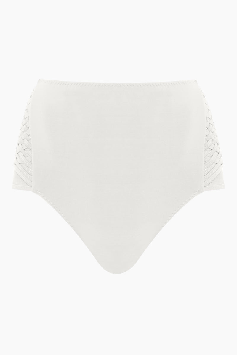 CLUBE BOSSA Havel Weaving High Waist Bikini Bottom - Off White Bikini Bottom   Off White  Clube Bossa Havel Weaving High Waist Bikini Bottom - Off White Features:  High waist Side weaving detail Moderate coverage Front View