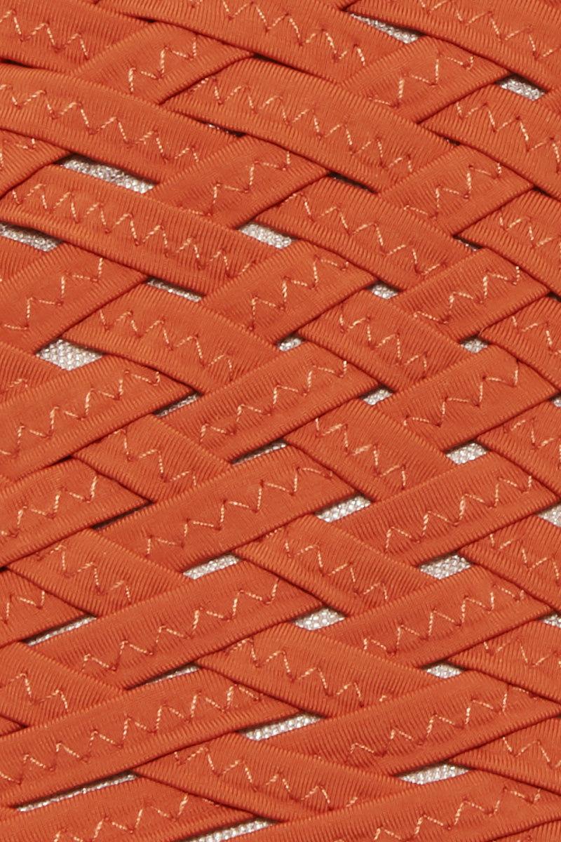 CLUBE BOSSA Donovan Weaving Triangle Bikini Top - Ginger Orange Bikini Top | Ginger Orange| Clube Bossa Donovan Weaving Triangle Bikini Top - Ginger Orange Triangle bikini top  Halter neck tie  Back tie closure  Front View