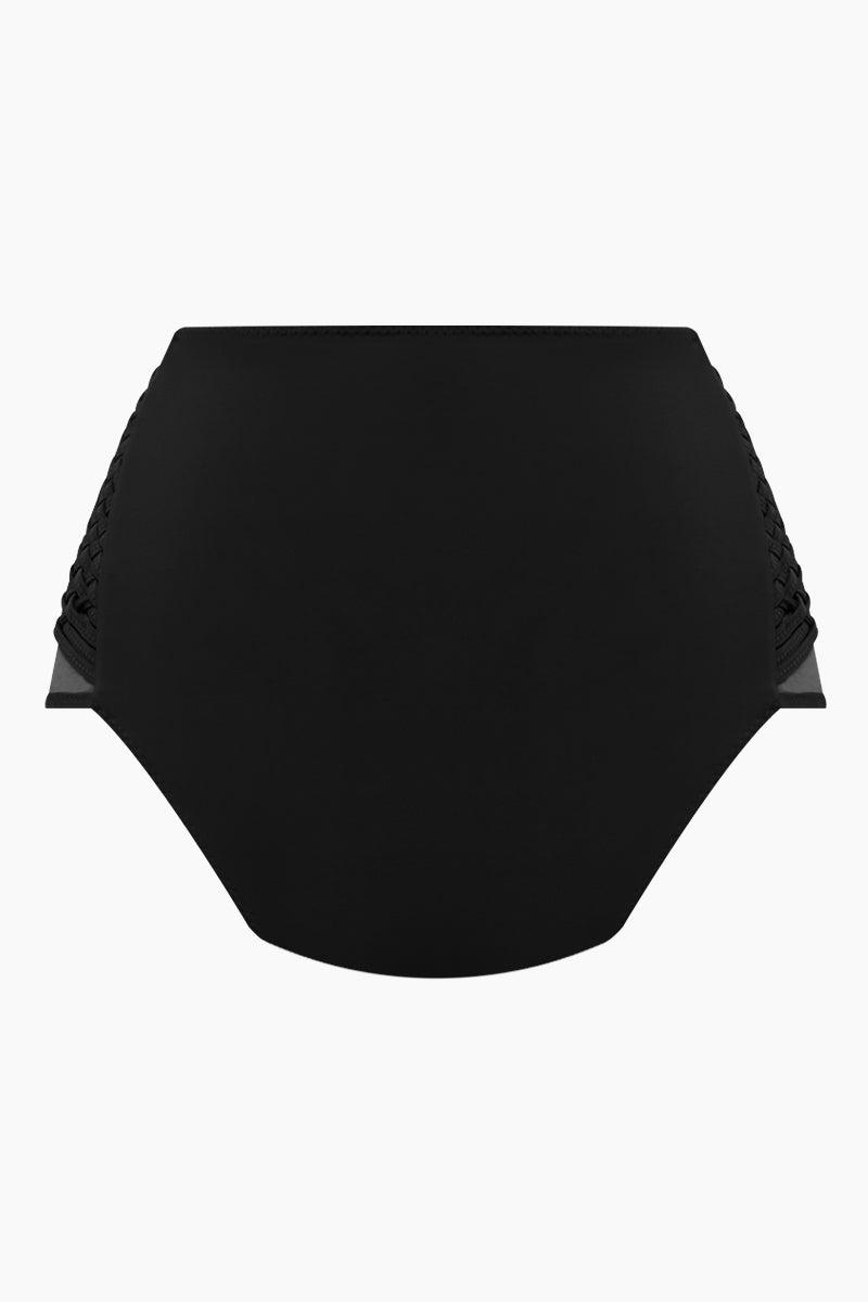 CLUBE BOSSA Havel Weaving High Waist Bikini Bottom - Black Bikini Bottom | Black| Clube Bossa Havel Weaving High Waist Bikini Bottom - Black Features:  High waist Side weaving detail Moderate coverage Back View