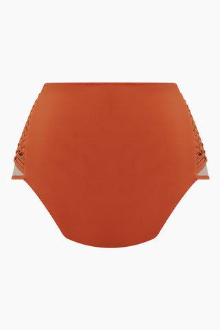 CLUBE BOSSA Havel Weaving High Waist Bikini Bottom - Ginger Orange Bikini Bottom | Ginger Orange| Clube Bossa Havel Weaving High Waist Bikini Bottom - Ginger Orange. Features:  High waist bikini bottom Elasticated waistband Wide waistband Back View