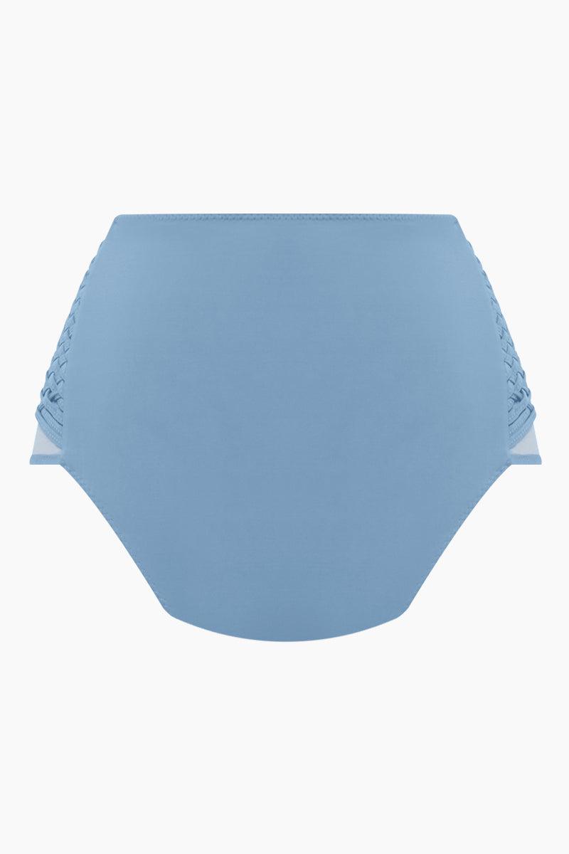 CLUBE BOSSA Havel Weaving High Waist Bikini Bottom - Riviera Blue Bikini Bottom | Riviera Blue| Clube Bossa Havel Weaving High Waist Bikini Bottom - Riviera Blue Features:  High waist Side weaving detail Moderate coverage Back View