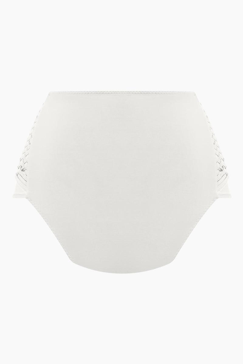 CLUBE BOSSA Havel Weaving High Waist Bikini Bottom - Off White Bikini Bottom   Off White  Clube Bossa Havel Weaving High Waist Bikini Bottom - Off White Features:  High waist Side weaving detail Moderate coverage Back View