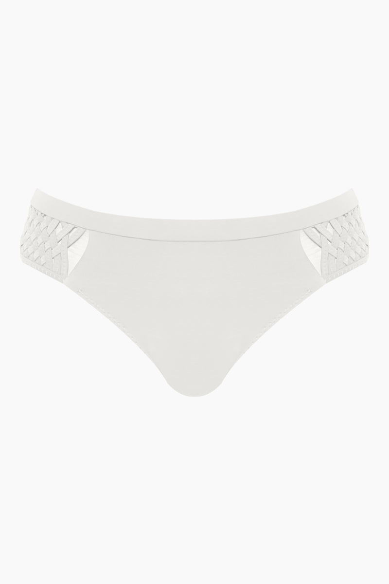 CLUBE BOSSA Perle Weaving Hipster Bikini Bottom - White Bikini Bottom | White| Clube Bossa Perle Weaving Hipster Bikini Bottom - White Features:  Hipster  Cheeky-moderate coverage  Side weaving detail Front View