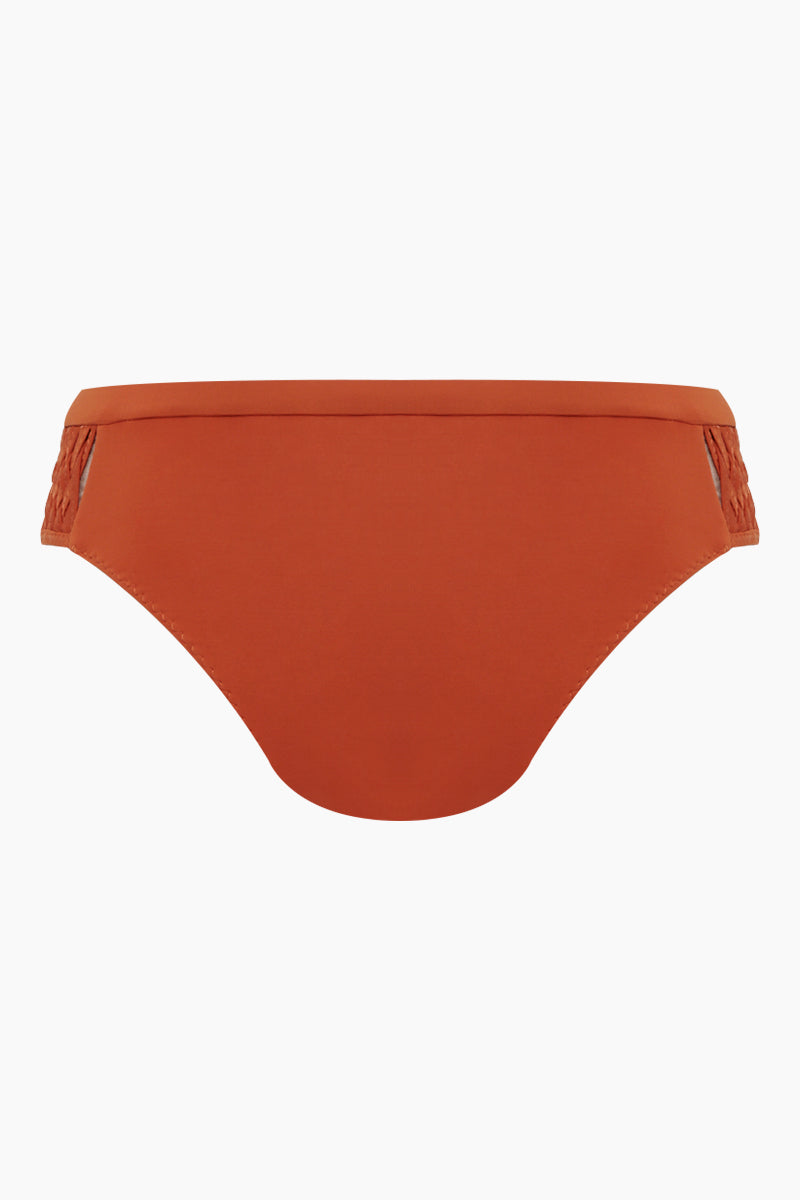 CLUBE BOSSA Perle Weaving Hipster Bikini Bottom - Ginger Orange Bikini Bottom | Ginger Orange| Clube Bossa Perle Weaving Hipster Bikini Bottom - Ginger Orange Features:  Hipster  Cheeky-moderate coverage  Side weaving detail Back View