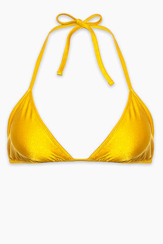 AXIL SWIM Carly Tie Up Bikini Top (Curves) - Yellow Bikini Top | Yellow| Axil Swim Carly Tie Up Bikini Top (Curves) - Yellow. Features: Itsy bitsy tennie weenie....string bikini! The Cara triangle bikini top is perfect for a flirty, catching rays look while still giving you great coverage and tie up self adjustment.  Tie Up Top - perfect for self adjustment High Quality Material - sexy subtle shine, Shiny Tricot 82% Nylon 18% Handmade in USA - can't beat that!