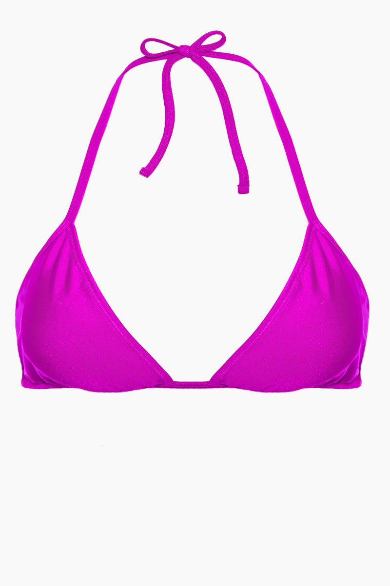 AXIL SWIM Carly Tie Up Bikini Top (Curves) - Violet Bikini Top | Violet| Axil Swim Carly Tie Up Bikini Top (Curves) - Violet. Features: Itsy bitsy tennie weenie....string bikini! The Cara triangle bikini top is perfect for a flirty, catching rays look while still giving you great coverage and tie up self adjustment.  Tie Up Top - perfect for self adjustment High Quality Material - sexy subtle shine, Shiny Tricot 82% Nylon 18% Handmade in USA - can't beat that!
