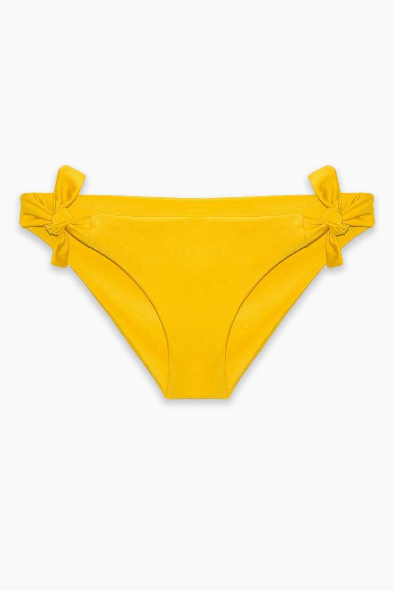 AXIL SWIM Gia Tie Side Bikini Bottom (Curves) - Yellow Bikini Bottom   Yellow  Axil Swim Gia Tie Side Bikini Bottom (Curves) - Yellow Low Rise Side Tie Cheeky Bikini Bottom Seamless Fabric