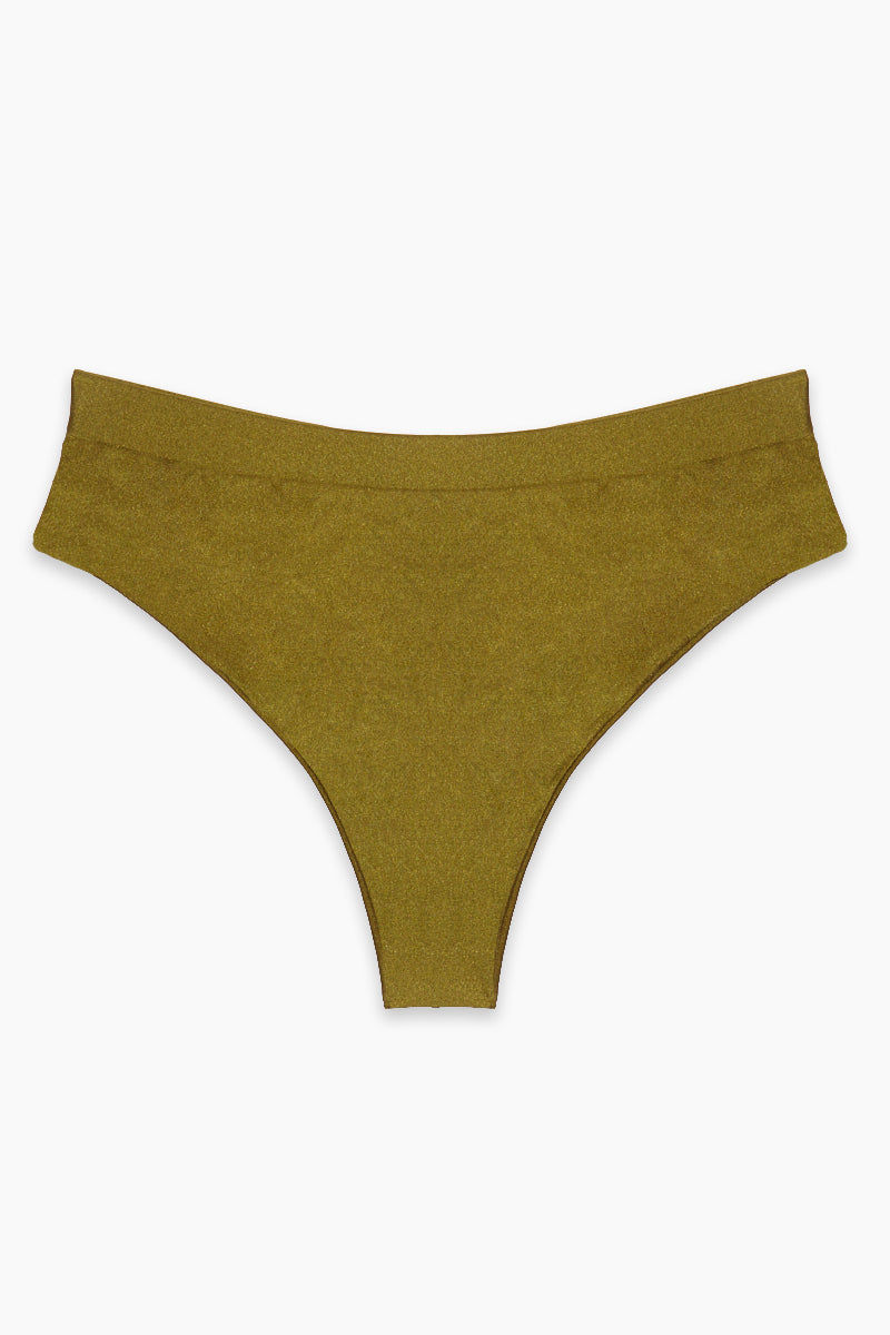 AXIL SWIM Tori High Waist Bikini Bottom (Curves) - Olive Bikini Bottom | Olive| Axil Swim Tori High Waist Bikini Bottom (Curves) - Olive. Features: Athleisure lovers beware! These are about to go into your essentials drawer. The Tori bottoms give you great flirty coverage...all at once. Bikini bottoms that are super comfy with a hint of cheekiness ;) High Waist Cut - helps to accentuate those curves Seamless Finish - who doesn't like seamless anything?! High-Quality Material - sexy subtle shine, Shiny Tricot 82% Nylon 18% Handmade in USA - can't beat that!