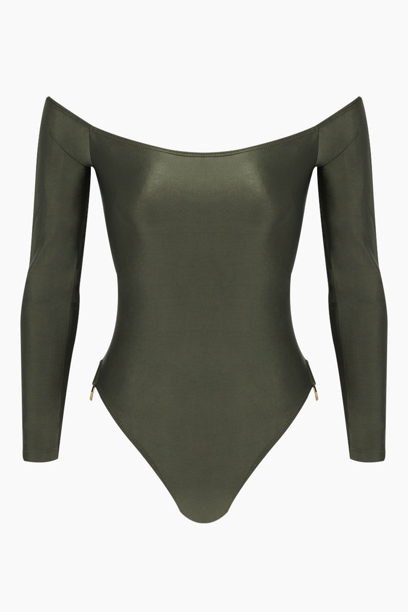 AGUA DE COCO Brazilian Off Shoulder Side Detail One Piece Swimsuit - Olive Green One Piece | Olive Green| Agua De Coco Brazilian Off Shoulder Side Detail One Piece Swimsuit - Olive GreenOlive green one piece Off shoulder  Long sleeves  Side ring hardware detail  Cheeky - moderate coverage Front View