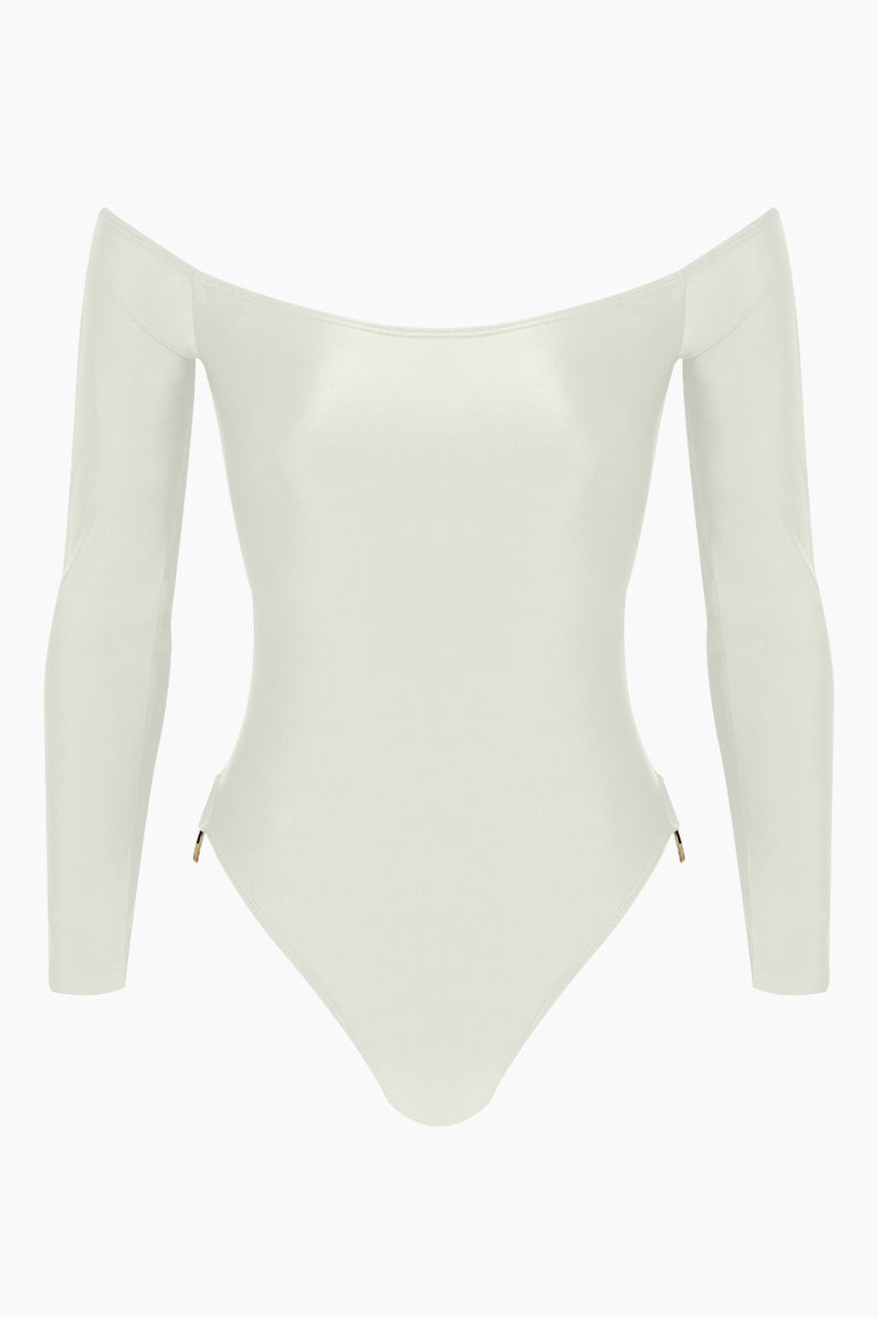 AGUA DE COCO Brazilian Off Shoulder Side Detail One Piece Swimsuit - Off White One Piece | Off White| Agua De Coco Brazilian Off Shoulder Side Detail One Piece Swimsuit - Off White White one piece Off shoulder Long sleeves  Side ring hardware detail  Cheeky - moderate coverage Front View