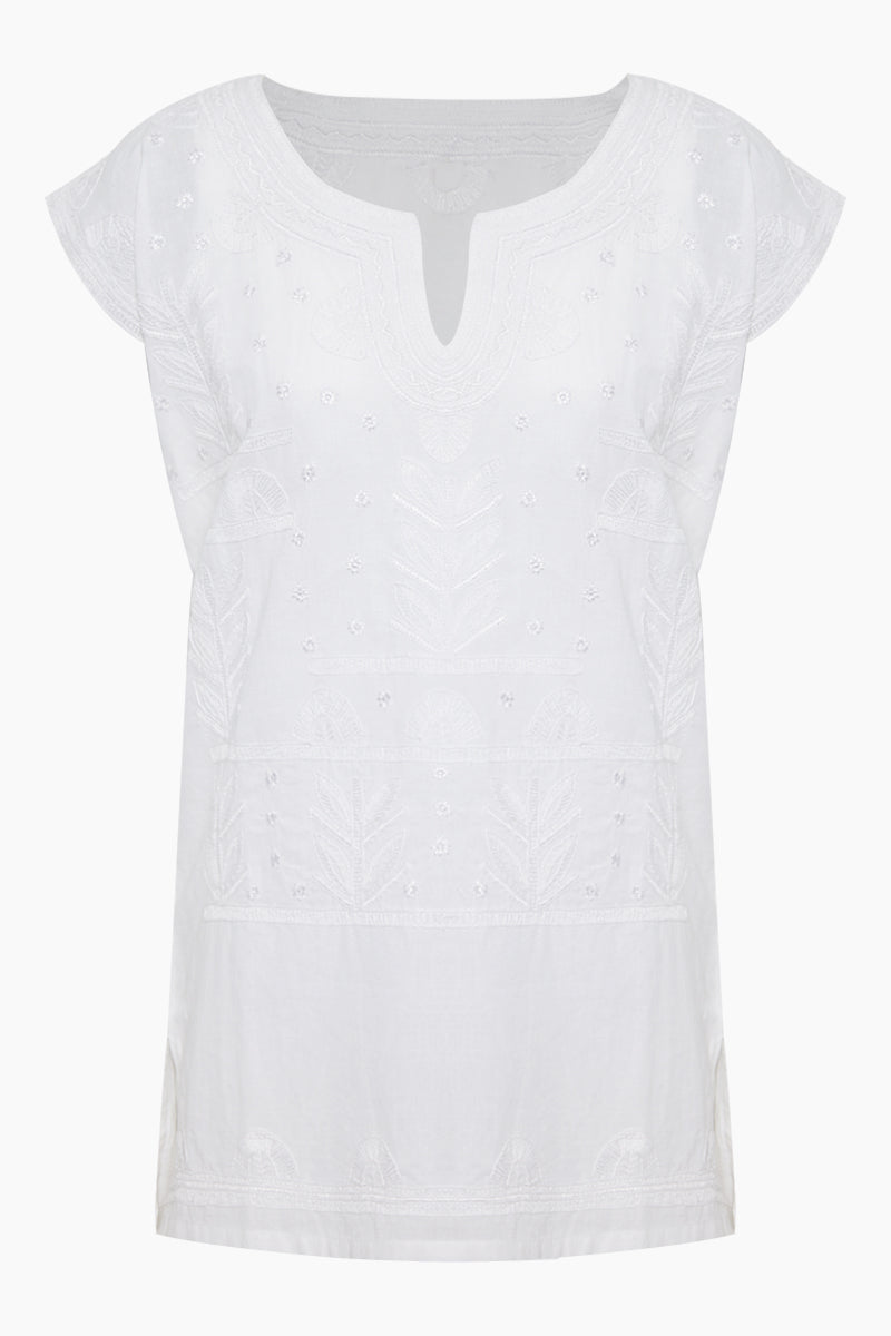 AMITA NAITHANI Riviera Embroidered Tunic - White Cover Up | White| Amita Naithani Riviera Embroidered Tunic - White Features:  White tunic V neckline Short sleeves Embroidered detail Front View