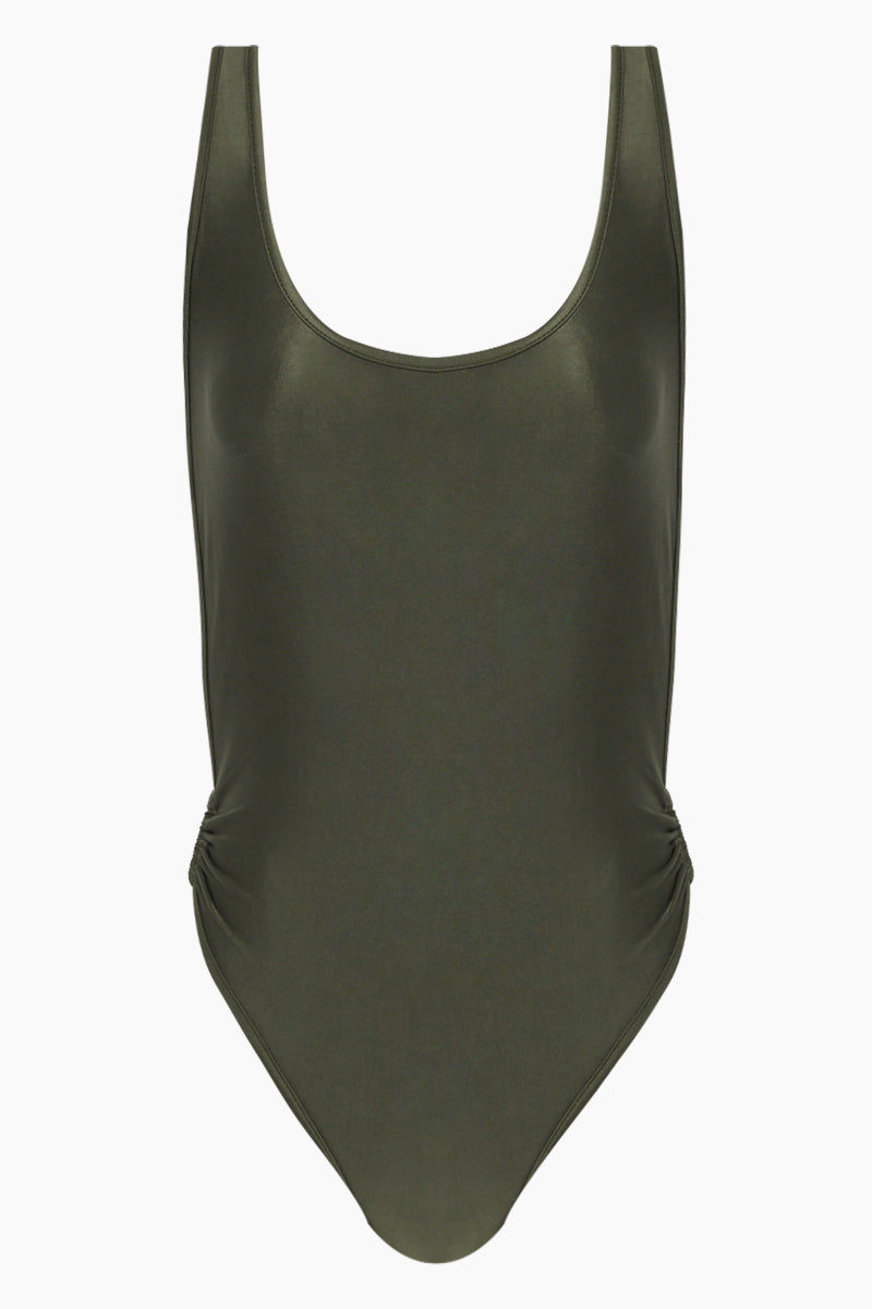 AGUA DE COCO Brazilian Cut Out Ring Sides One Piece Swimsuit - Olive Green One Piece | Olive Green| Agua De Coco Brazilian Cut Out Ring Sides One Piece Swimsuit - Olive Green Green one piece Scoop neckline  Side boob exposure  High cut leg  Side ring hardware detail  Moderate coverage  Front View