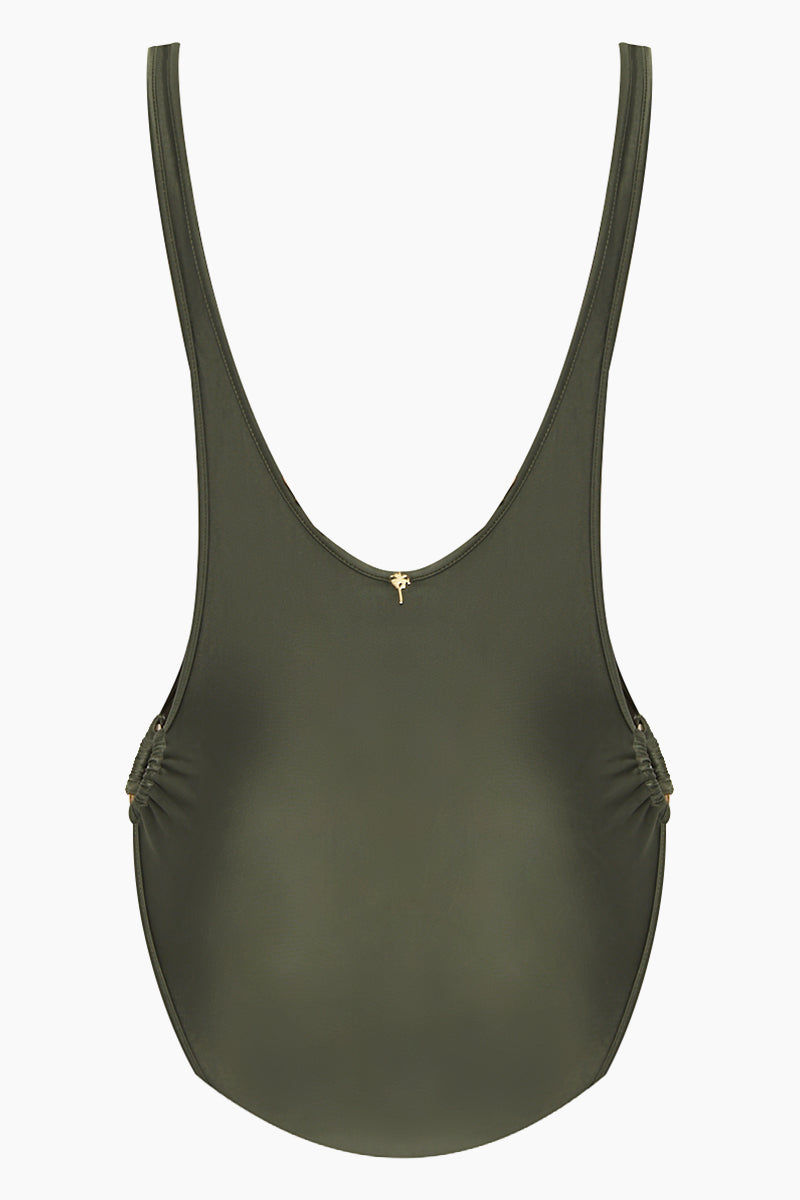 AGUA DE COCO Brazilian Cut Out Ring Sides One Piece Swimsuit - Olive Green One Piece | Olive Green| Agua De Coco Brazilian Cut Out Ring Sides One Piece Swimsuit - Olive Green Green one piece Scoop neckline  Side boob exposure  High cut leg  Side ring hardware detail  Moderate coverage  Back View