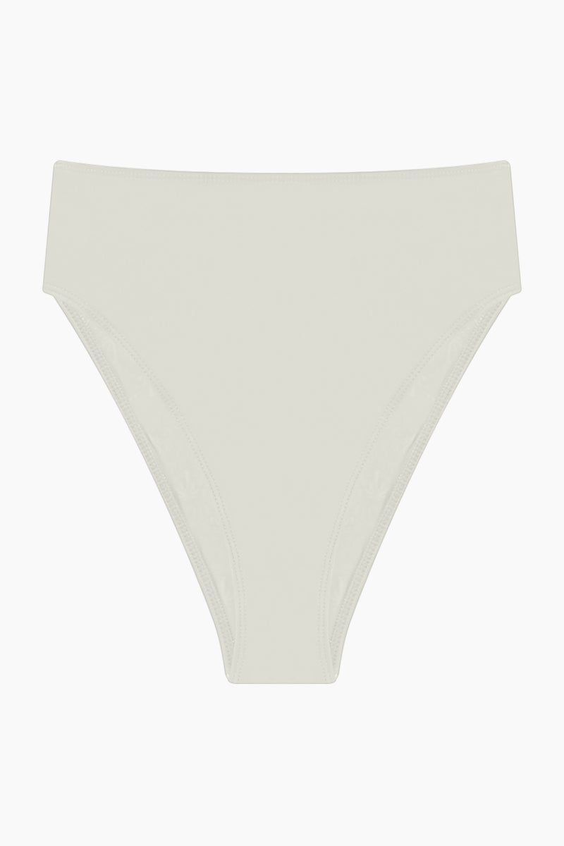 AGUA DE COCO Brazilian High Waist Bikini Bottom - Off White Bikini Bottom | Off White| Agua De Coco Brazilian High Waist Bikini Bottom - Off White White bikini bottom High waist High cut leg Cheeky coverage Front View