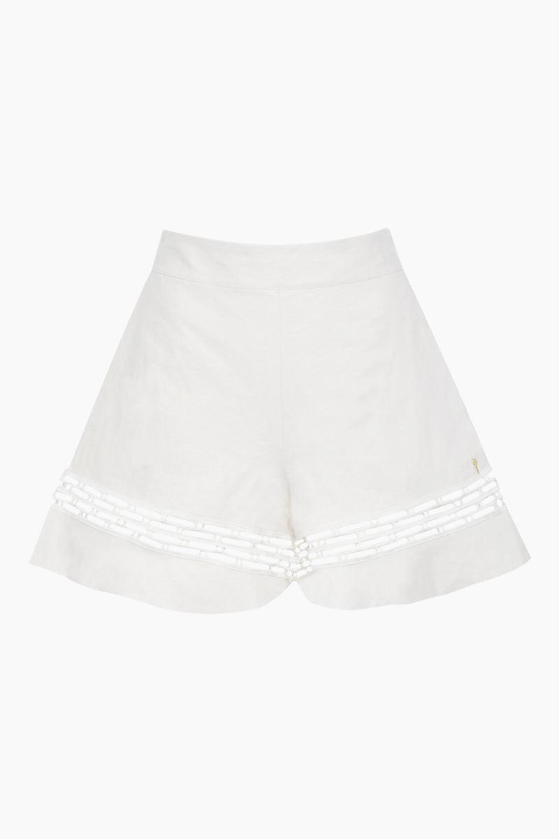 AGUA DE COCO Linen Shorts - Atlantica White Shorts | Atlantica White| Agua De Coco Linen Shorts - Atlantica White High waist shorts  Front View