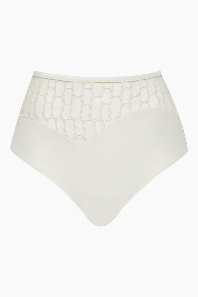 AGUA DE COCO High Waist Netting Bikini Bottom - Off White Bikini Bottom | Off White| Agua De Coco High Waist Netting Bikini Bottom - Off White Agua De Coco High Waist Netting Bikini Bottom - Off White Front View