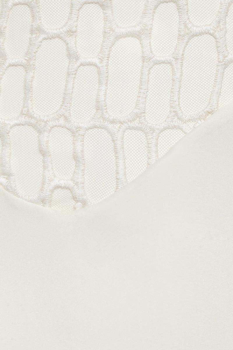 AGUA DE COCO High Waist Netting Bikini Bottom - Off White Bikini Bottom | Off White| Agua De Coco High Waist Netting Bikini Bottom - Off White Agua De Coco High Waist Netting Bikini Bottom - Off White High waist Netting detail Cheeky coverage Front View
