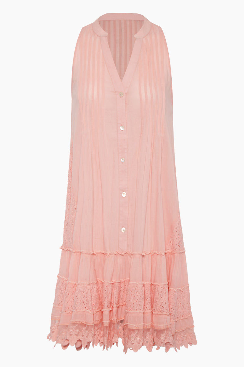 AMITA NAITHANI Sunny Isles Pintuck Tunic - Peach Fuzz Pink Cover Up | Peach Fuzz Pink| Amita Naithani Sunny Isles Pintuck Tunic - Peach Fuzz Pink Features:  Pink sleeveless tunic V neckline  Pleated detail Front button up closure  Ruffle tier detail Front View