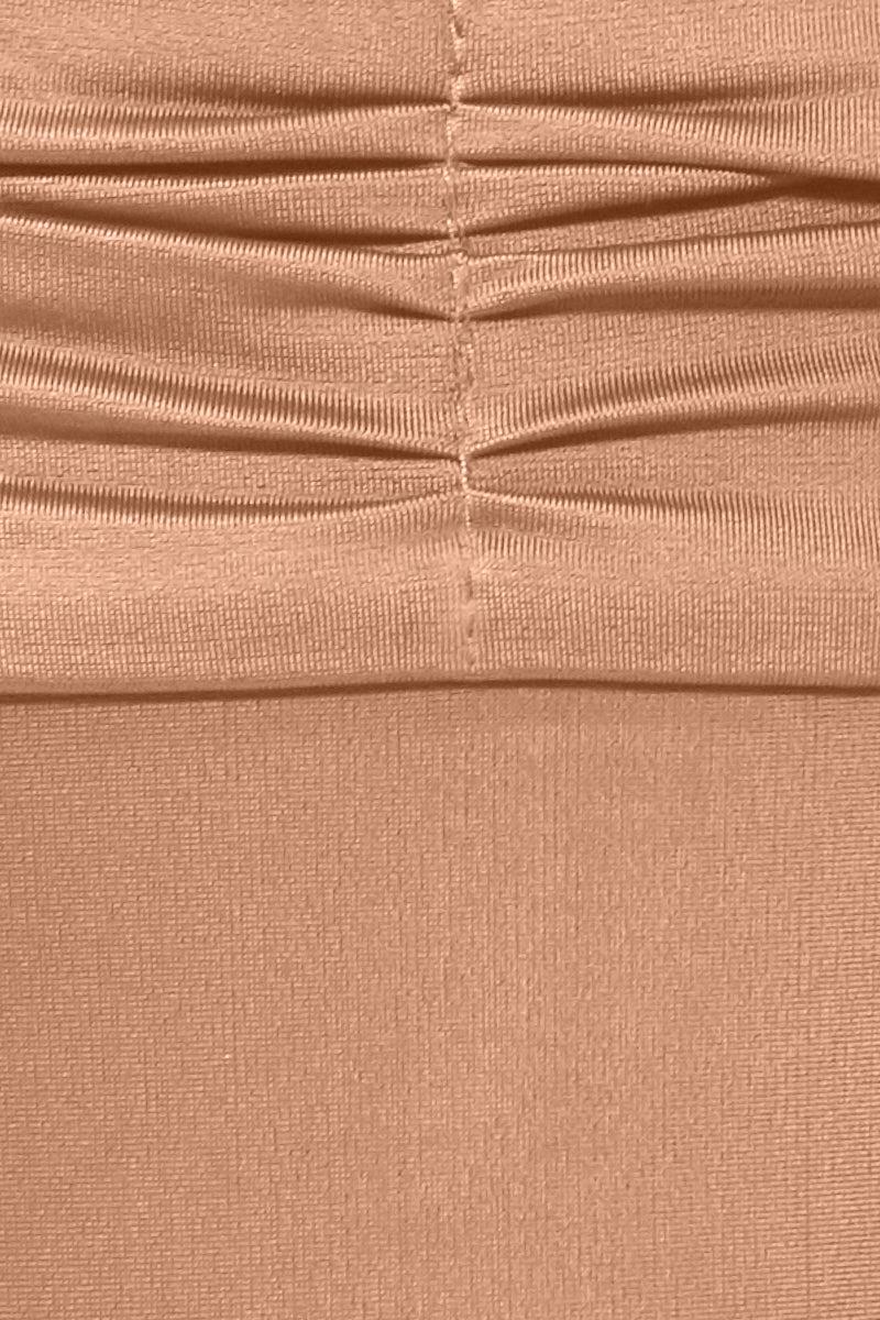 AGUA DE COCO Ruched Waist Tie Side Bikini Bottom - Rose Pink Bikini Bottom | Rose Pink| Agua De Coco ruched waist Tie Side Bikini Bottom - Rose Pink Rose pink bikini bottom Tie side Low rise Cinched fabric Cheeky coverage  Front View