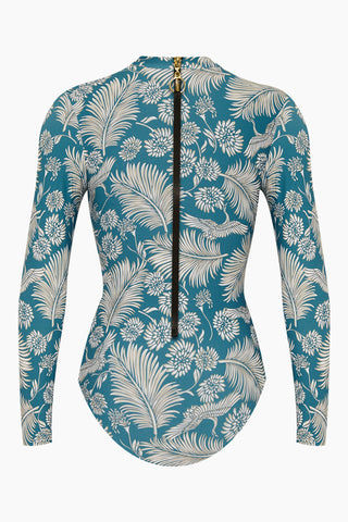 AMUSE SOCIETY Savanhah Long Sleeve Rashguard Bodysuit - Caribbean Blue Tropical Print One Piece | Caribbean Blue Tropical Print| Amuse Society Savanhah Long Sleeve Rashguard Bodysuit - Caribbean Blue Tropical Print Blue tropical print one piece High neckline  Long sleeve  Back zipper closure  Cheeky - moderate coverage Back View