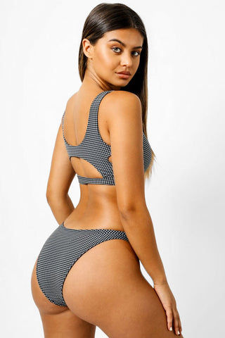 KAOHS Shelby Cheeky Bikini Bottom - Houndstooth Print Bikini Bottom | Houndstooth Print| Kaohs Shelby Cheeky Bikini Bottom - Houndstooth Print Thick waistband High cut leg  Cheeky coverage Back View