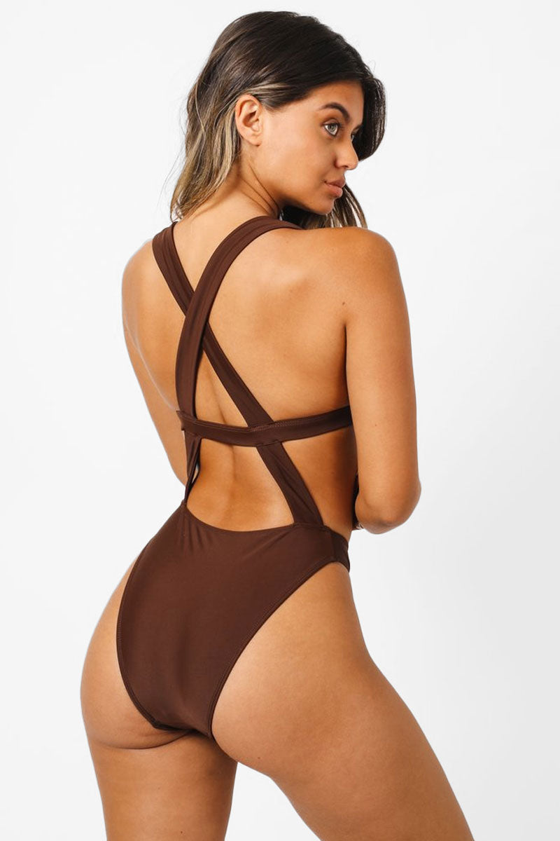 release info on find lowest price online retailer Sofia Monokini Criss Cross Back One Piece Swimsuit - Chocolate Brown