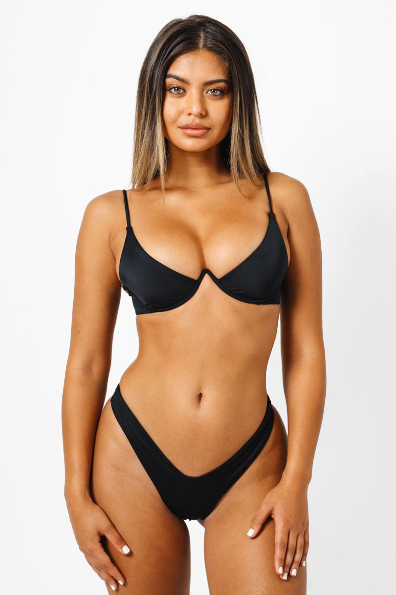 KAOHS Bella Thong Bikini Bottom - Black Bikini Bottom | Black| KAOHS Bella Thong Bikini Bottom - Black Low Rise High cut leg Wide waistband thong coverage  Front View
