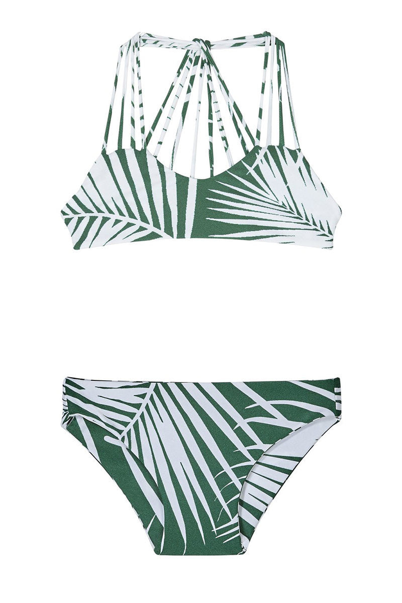 MIKOH MINI Aruba Top & Makapuu Bottom - Kids Kids Bikini | Botanical Forest| MIKOH Aruba Top Makapuu Bottom Kids Bikini Kids Bikini Top and Bikini Bottom Green and White Palm Print Strappy Front Design Multi-Strap Racerback Sweetheart Neckline Full Rear Coverage on Bottom Wide Side Straps
