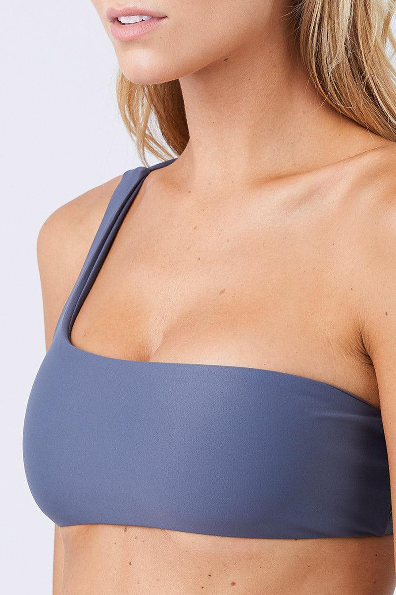 JADE SWIM Apex One Shoulder Bikini Top - Slate Bikini Top | Slate| Jade Swim Apex One Shoulder Bikini Top - Slate  Asymmetrical One Shoulder Bikini Top Slate Gray Fabric Thin Double Back Straps UV Protective Lotion/Oil Resistant Close View