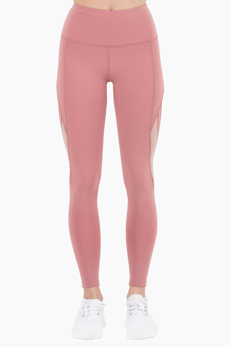 ac68f264fbff3 ... NYLORA Scarlett High Waisted Mesh Cut Out Leggings - Dusty Pink/Peony  Pants | Dusty ...