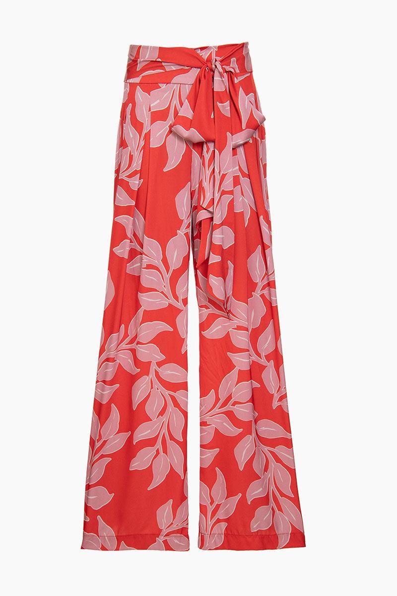 PATBO Wide Leg Pant - Hot Pink Leaf Print Pants | Hot Pink Leaf Print| Patbo Wide Leg Pant - Hot Pink Leaf Print Wide leg pants High waist  Tie closure Front View