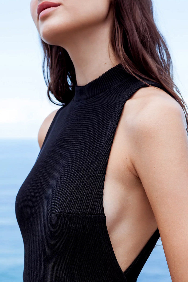 HAIGHT Kate Knit High Neck One Piece Swimsuit - Black One Piece | Black| Haight Kate Knit High Neck One Piece Swimsuit - Black High neckline  Side boob  High cut leg  Cheeky coverage  Close View