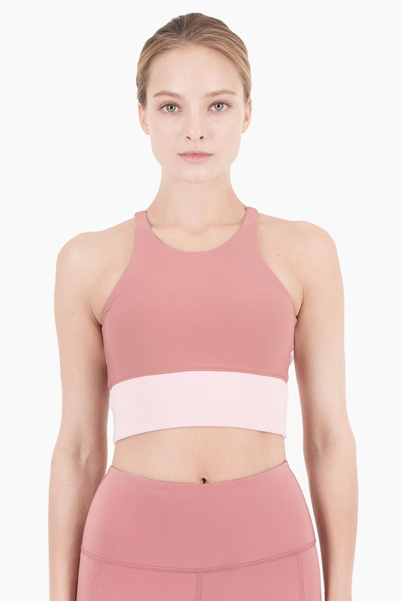NYLORA Aria Cropped Color Block Sports Bra - Dusty Pink/Peony Top | Dusty Pink & Peony Combo| Nylora Aria Cropped Tank - Dusty Pink & Peony Combo. Features:   High scoop neckline  Cropped style tank  Racerback detail  Colorblock detail  Front View
