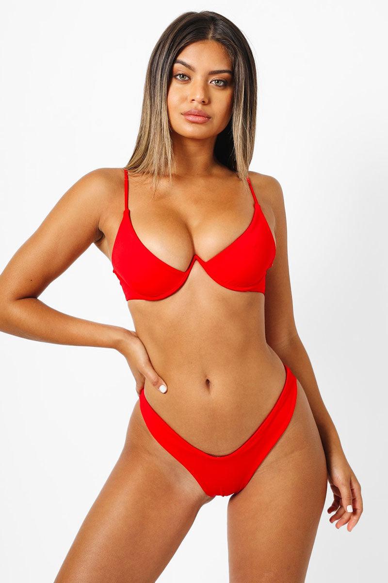 KAOHS Bella Thong Bikini Bottom - Red Bikini Bottom   Red  Kaohs Bella Thong Bikini Bottom - Red Low Rise High cut leg Wide waistband thong coverage  Front View