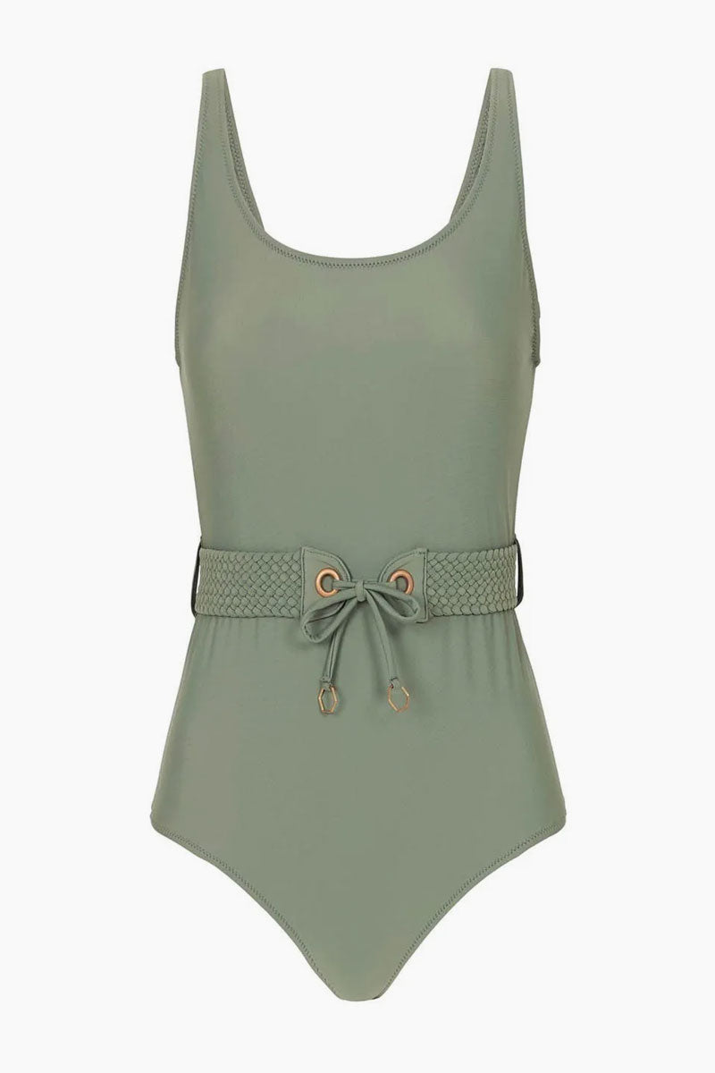 df64399c7dd29 TIGERLILY Halle Belted Corset Lace Up One Piece Swimsuit - Vine Green One  Piece | Vine ...