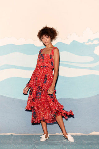 CLUBE BOSSA Zelza Ruffle Midi Dress - Fleur Red Print Dress | Fleur Red Print| CLUBE BOSSA Zelza Ruffle Midi Dress - Fleur Red Print. Features:  Square neckline Ruffle details Elastic waistband Front View