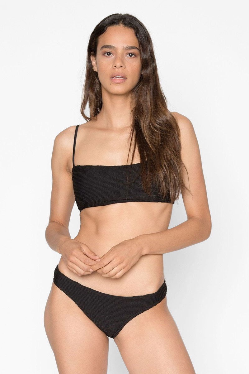 SEEA Laui Ribbed Low Rise Hipster Bikini Bottom - Onyx Black Bikini Bottom | Onyx Black| Seea Laui Ribbed Low Rise Hipster Bikini Bottom - Onyx Black Low rise  Hipster  Cheeky coverage  Ribbed Front View