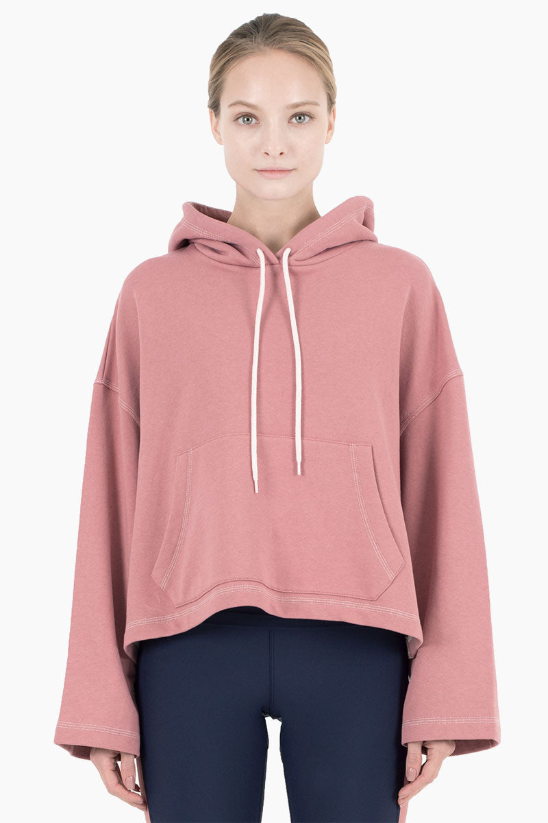 NYLORA Mila Hooded Long Sleeve Drawstring Sweatshirt - Dusty Pink Top | Dusty Pink| Nylora Mila Hooded Top - Dusty Pink. Features:  Drawstring hood Drawstring hood Kangaroo pocket Relaxed fit Front View