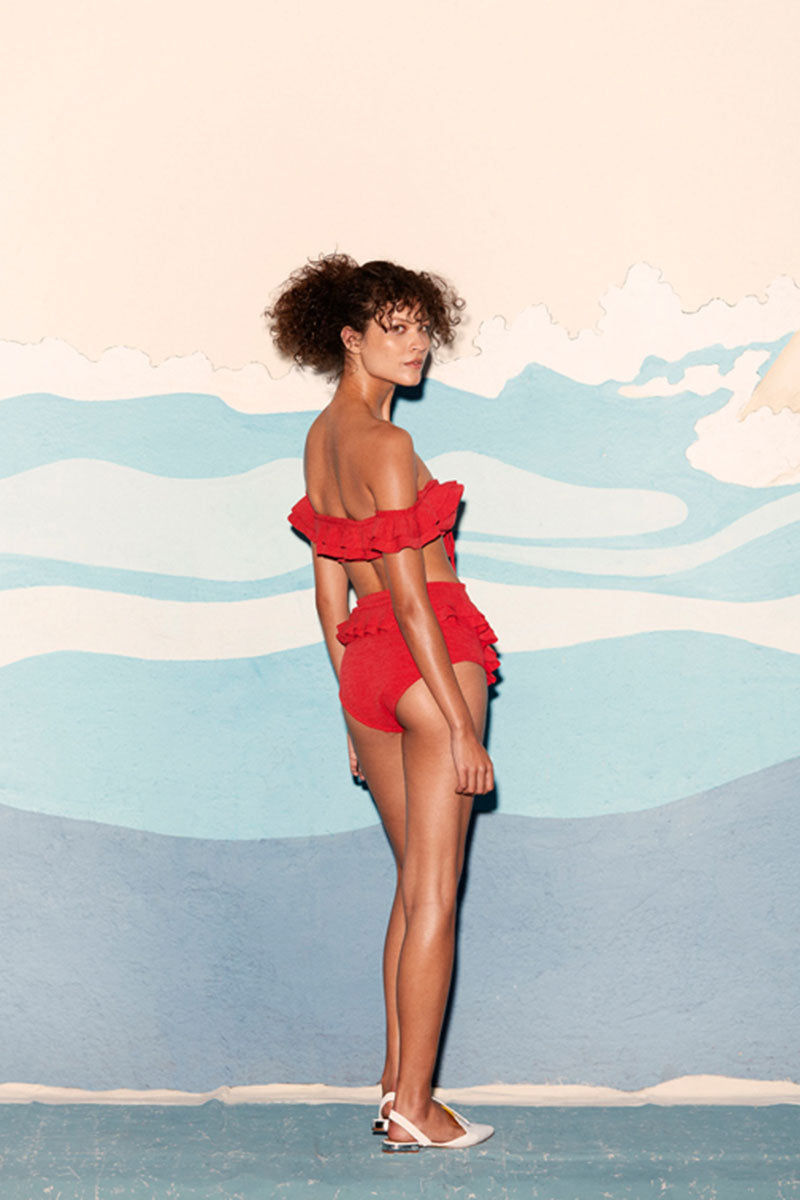 CLUBE BOSSA Hopi Ruffle Off Shoulder Bikini Top - Pepper Red Bikini Top | Pepper Red| Clube Bossa Hopi Ruffle Off Shoulder Bikini Top - Pepper Red. Features:  Sligh sweetheart neckline Off-shoulder ruffle sleeves Front tie Back View