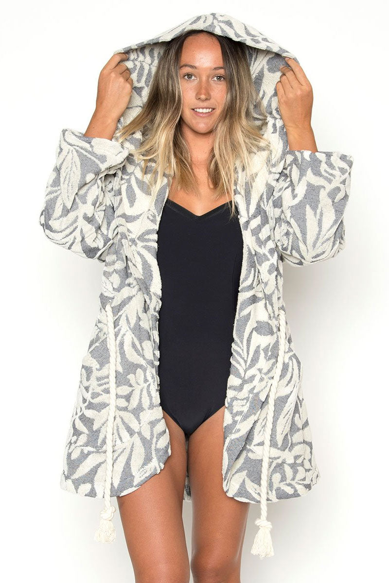 SEEA Olivia Hooded Robe - Navy Kelp Print Cover Up | Navy Kelp Print| Seea Olivia Hooded Robe - Navy Kelp Print. Features: Made from upcycled cotton/ recycled polyester terry cloth. Original jacquard pattern fabric. Loose, oversized wrap fit with oversized hood. Two pockets. Oversized rope draw chord around the waist. One size fits all. Made in sunny California. Front View